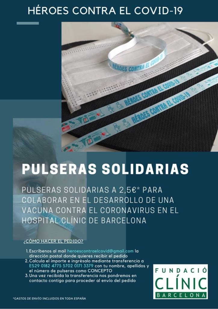 Cartel oficial de la colaboración de Pulseras Solidarias con la Fundació Clínic de Recerca Biomèdica (Hospital Clínic)